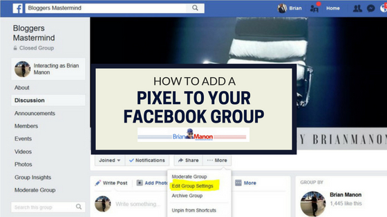 How do you add a pixel to your Facebook Group
