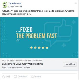 Siteground FB ad
