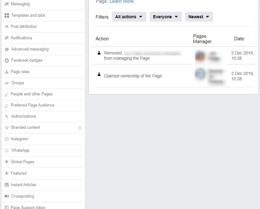 "Facebook new ""Page Management History"" tab"